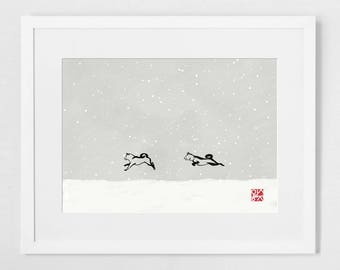Snowy day(SMALL) SHIBA INU Art Poster Japanese Dog Sumi-e Painting Ink Zen Print Drawing Dog Lover Wall Deco Pet Brush illustration B&W