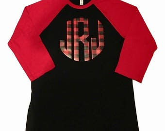 Buffalo Plaid Monogram Raglan | baseball tee