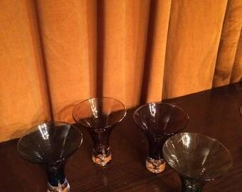 Vintage Hand Blown, Coloured, Controlled Bubble, Appertif/Liqueur/Shot Glasses