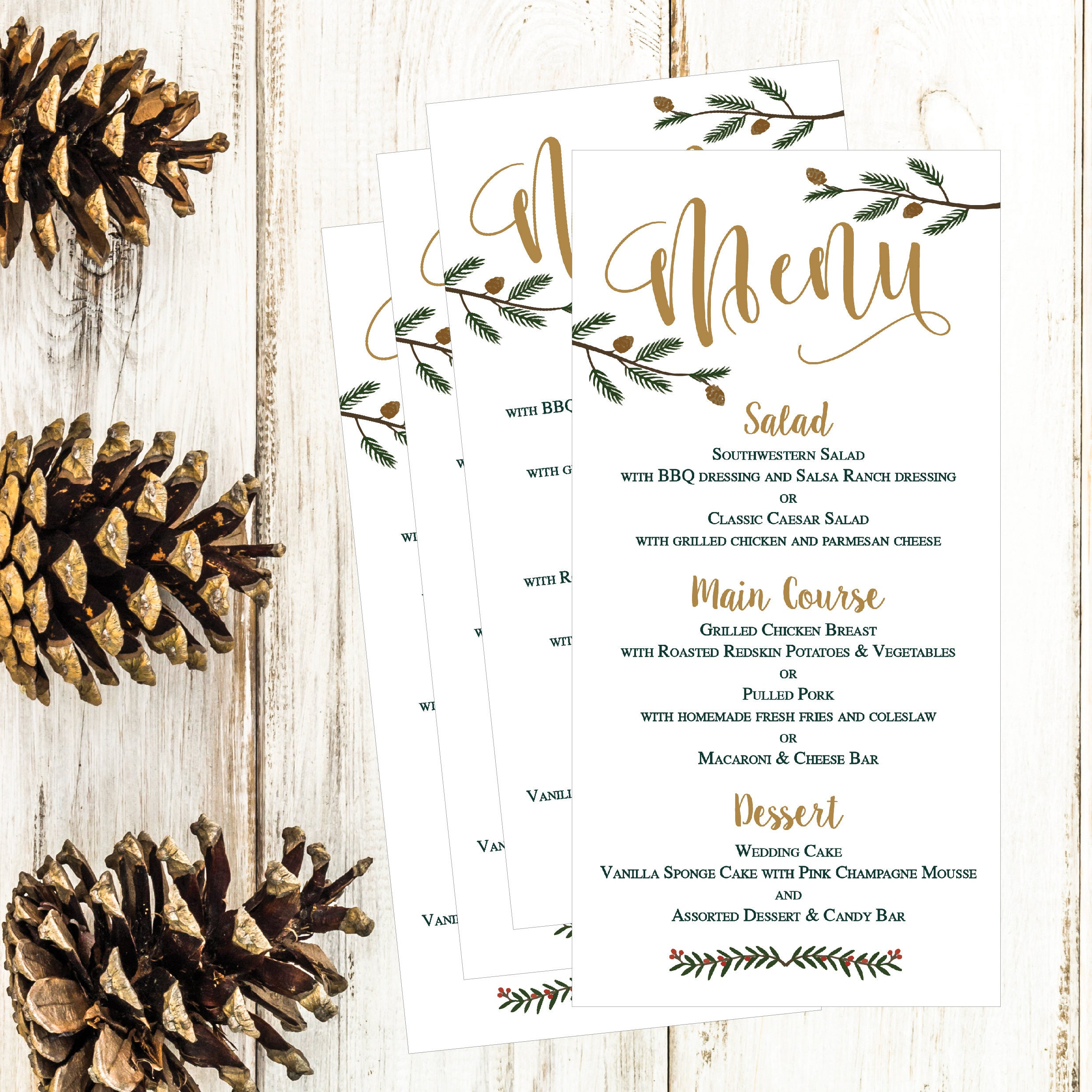 Relatively Christmas Holiday Winter Wedding Party Menu Template, Modern  VN64