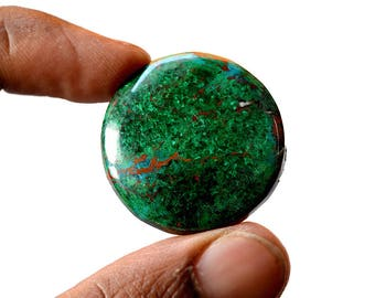 Chrysocolla 57 Cts AAA Quality Natural Gemstone Attractive Designer Round Shape Cabochon 31x31x5.4 MM R14072