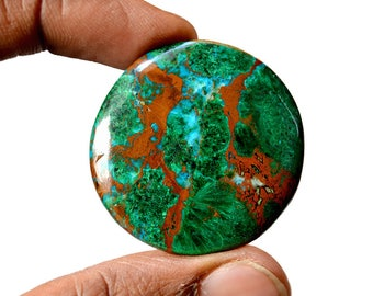 Chrysocolla Large 80.5 Cts AAA Quality Natural Gemstone Attractive Designer Round Shape Cabochon 36x36x5 MM R14106