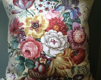 Vintage Sanderson yellow floral sateen fabric cushion