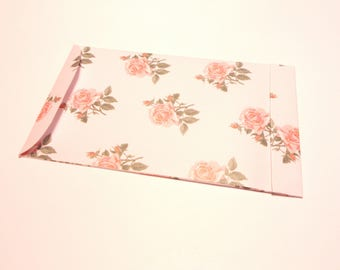 Set of 2 pouches rectangular floral white pink