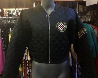 1990' Grand Prix quilted, sequined, short bomber jacket, shoulder pads. Size XS.