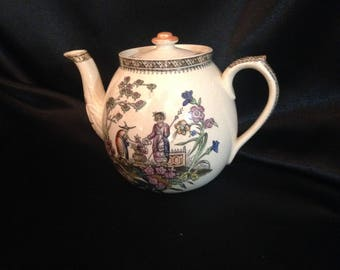 Edge Malkin CHANG Pattern Tea Pot / 1870s EDGE And MALKIN Chang Chinoiserie / Antique Edge Malkin Chang Dog Trademark