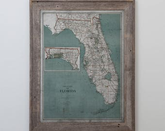 Florida State Map : Vintage Map of Florida - Circa 20th C. - Weathered Map