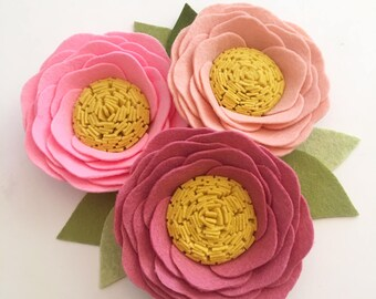 ENGLISH ROSES // Loose Felt Flowers // Unattached Felt Flowers // DIY Flowers // Flower Embellishments // Set of 3 // You Pick Colors