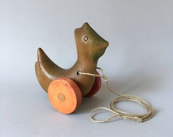 Antonio Vitali carved wooden toy - Pull Hen Chicken - Uber Rare - Perfect Gift