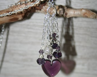 Purple heart shaped necklace made of hand made glass bead