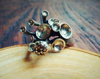 Magic Mushroom ring Oxidized Silver Ring Natural ring, Deep ring  Psy Fashion Fairy Trippy Ring Psy Trance rings