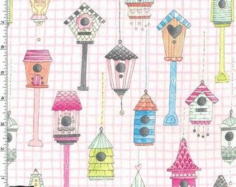Tweet Me - Love Shack Fabric - Pink - Sold by the 1/2 Yard