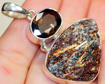 Stunning Astrophyllite with Smokey Topaz  set in Solid 925 Sterling Silver Pendant
