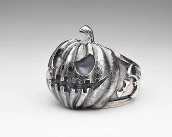 Halloween Pumpkin Ring, sterling silver, handmade