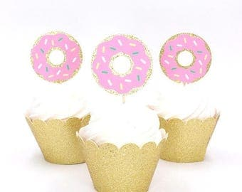 ON SALE Donut Cupcake Topper - Glitter Doughnut Cupcake Toppers - Donut Pick - Donut Grow Up Cupcake Topper - Fast Shipping