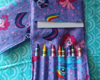 Custom Handmade My Little Pony Crayon Wallet. Purse Size, Travel Crayon Roll, Party Favors, Long Flights, Roadtrip Learning Activity.