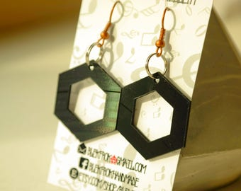 Black hexagon dangle vinyl record earrings,earrings for woman,,eye,upcycled earrings minimalist earrings sustainable fashion edgy jewelry