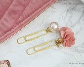 Pink Satin and Pearls Pom Pom Paper Clips Planner Accessories Travelers Notebook