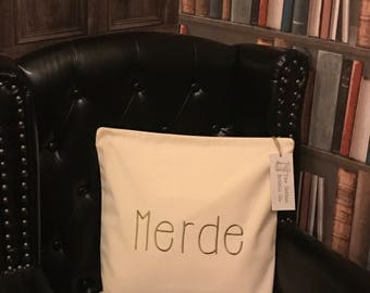 Merde Embroidered Cushion Cover and Pad Insert Shit Cushion Cover Funny Cushion Ride Cushion Sweary Cushion