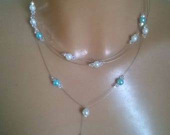 Set 3 piece bridal /transparent turquoise white pearls, wedding, parties