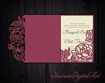 Tri-Fold Peonies 5x7 Wedding Invitation Pocket Envelope SVG Template, Quinceanera card, laser cut file, Silhouette Cameo, Cricut
