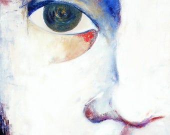 Original Italian art print woman-mother Soul countenance white blue red