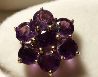 9K Gold Amethyst Flower Stud Earrings 3.6gr