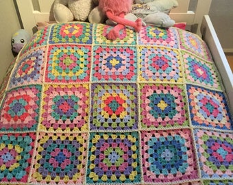 Granny square handmade afghan crochet throw blanket home decoration one person bed colorful soft tone pastel colors, adult garden blanket,