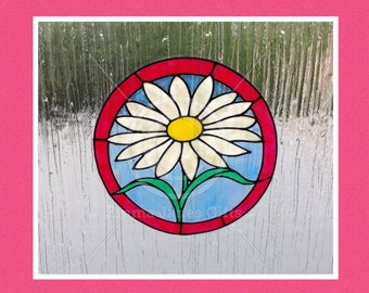 Daisy window cling hand painted for glass & mirror surfaces, reusable faux stained glass effect, static cling decal, suncatcher, decals