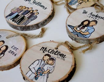 Custom Wood Ornament, Custom Ornament, Ornament, Painted Ornament, Family Portrait Ornament, Ornament Illustration, Wood Ornament