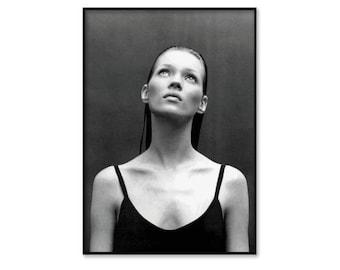 Kate Moss poster, Kate Moss framed print, framed wall art, fashion wall art, fashion print, black and white photography, free shipping UK
