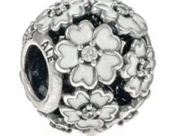 Pandora Sterling Silver & White Enamel CZ Primrose Meadow Charm # 791488EN12