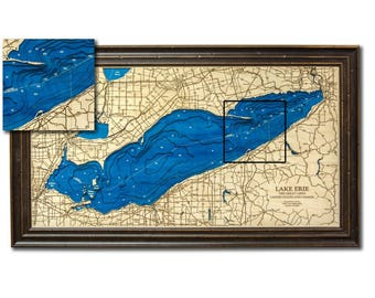 Lake Erie Dimensional Wood Carved Depth Contour Map - Customize With Your Home Information