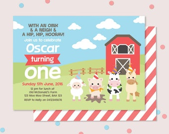 Farm Animal Kids Birthday Invitation // Lamb, pig, cow, horse and barn illustration // Barnyard birthday party invitation - Any age!!
