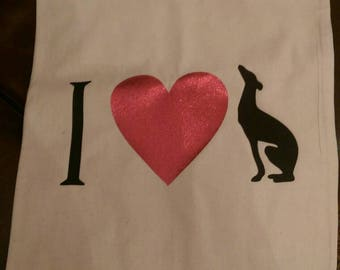 I love hound/Lurcher/Greyhound/Whippet/Sighthound/Dog  tote bag, printed on both sides.
