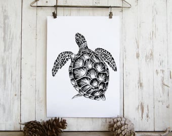 Nautical Wall Art, Sea Turtle Print, Turtle Poster, Nautical Art, Sea Life Prints, Dorm Decor, Nature Art, Kids Room Decor