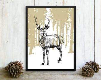 Framed Deer Poster, Deer Print, Deer Decor, Framed Wall Art, Cabin Decor, Farmhouse Wall Decor, Print On Paper, Wall Hanging