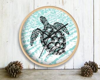 Sea Turtle Wall Clock, Nautical Wall clock, Kids Room Decor, Aqua White Wall Clock, Clock for Wall, Nursery Clock, Gift For Kids, Nature Art