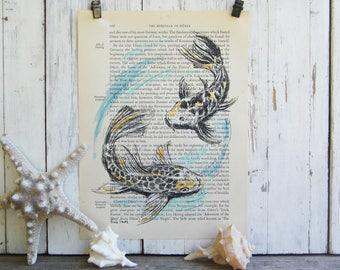 Koi FishPrint, Dictionary Art, Black And White Poster, Koi Poster, Couple Gift, Recycled Paper, Farmhouse Decor, Housewarming Gift, Book Art