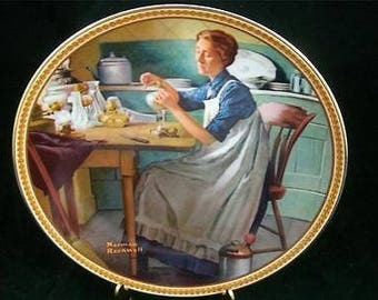 """Norman Rockwell's Collector's Plate - 1983 - Rediscovered Women Series - #9 - """"Working in the Kitchen"""" - by Knowles - Rockwell Society Stamp"""