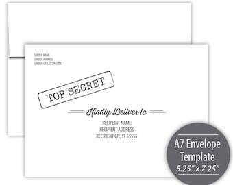 Top Secret A7 Envelope Template --- Instant Download --- Printable --- #C115-IE-2-D