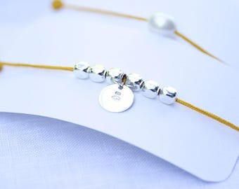 Yellow and orange cord charm 925 silver bracelet