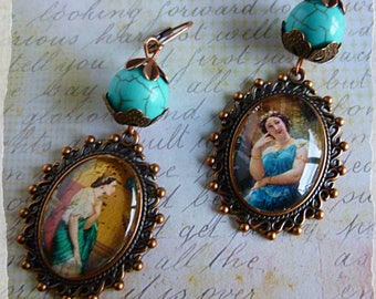 """Earrings neoclassical """"Theatre"""" copper metal cabochon shown """"actresses"""" 19th, turquoise Howlite stone"""