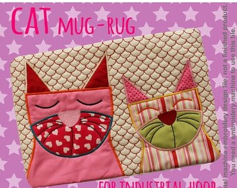 30% JULY SALE CATS mug rug - for Industrial hoop - In The Hoop - Machine Embroidery Design File, digital download