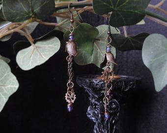 """Steampunk earrings """"My Metallic Garden - purple"""""""