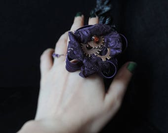 """Steampunk ring """"Fall in Fire"""""""