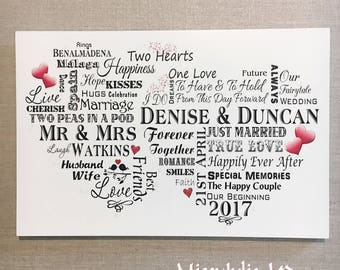 Wedding Plaque Personalised Gift for Happy Couple Typography Sign W215