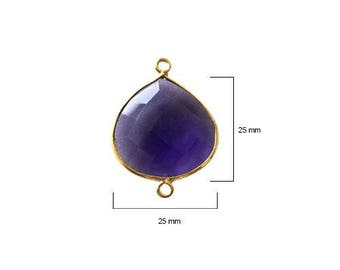 AMETHYST HEART 25 mm gold double q