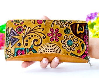 Leather wallet, Iphone wallet case, samsung galaxy s7wallet, Best wallet, Embossed and Handpainted hand craft, Genuine Leather Womens A