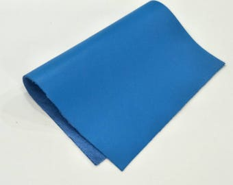 "Leather Scrap, Genuine Leather, Leather Pieces, Bright Blue, Size 8.25"" by 11.5""  Leather Scrap for DIY Projects."